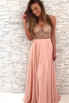 Sequin Straps Lace Appliques Prom Dresses |  Sleeveless Evening Dresses_1