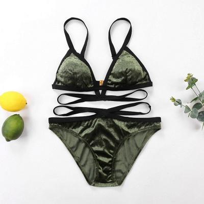 Velvet Triangle Pads Bandage Two-piece Bikini Sets_5
