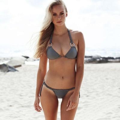 Halter Bandage Swimwear Triangle Two-piece Bikini Set_4