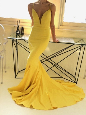 Charming yellow Spaghetti Strap Prom Dresses Sleeveless Mermaid Open Back Sexy Evening Dresses_2