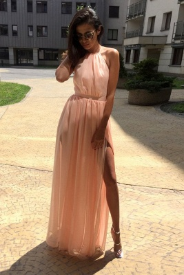 Glamorous Sheer Halter Ribbons Prom Dresses | Side slit Overskirt Bowknot Sleeveless Evening Dresses_1