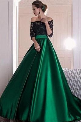 Glamorous Black Lace Long Sleeves Prom Dresses Bateau Sexy Evening Dresses_2