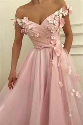Pink Flower Off-the-Shoulder Prom Dresses Sleeveless Beads Sexy Evening Dresses with Belt_4