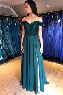 Glamorous Off-the-Shoulder Lace Appliques Prom Dresses   Side Slit Sleeveless Evening Dresses with Beads_2