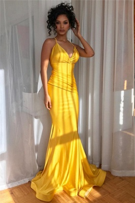 Yellow Spaghetti-Straps Sexy Low Cut Ruffle Trumpet Evening Gown | Suzhou UK Online Shop_2