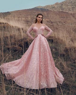 Pink Off-The-Shoulder Sleeved Lace Applique Princess Princess A-line Prom Dresses | Suzhou UK Online Shop_2