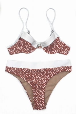 White Dots Two-piece Pads Spaghetti Straps Bikinis_1