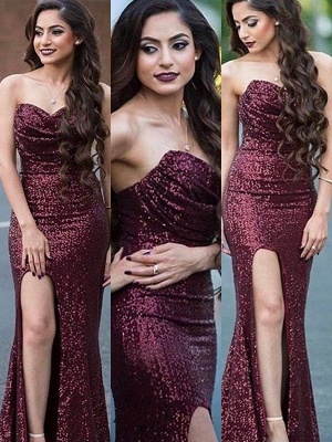 Burgundy Sequins Sweetheart Prom Dresses Mermaid Ruffles Sexy Evening Dresses_4