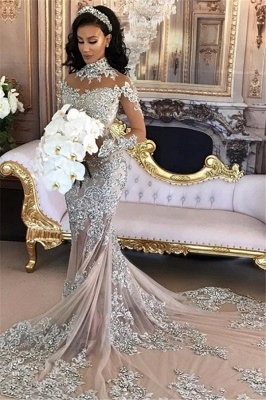 Long Sleeve Silver High Neck Popular Evening Dress Lace Mermaid  Luxury Wedding Dresses BH-362