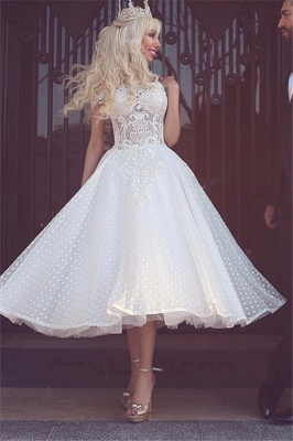 White Off-the-Shoulder Wedding Dress | Ball-Gown Ankle Length Bridal Gowns_3