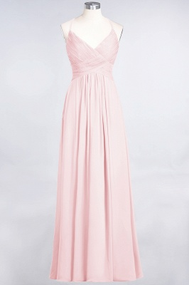 A-line Chiffon Spaghetti-Straps V-Neck Summer Floor-Length Bridesmaid Dress UK with Ruffles_3