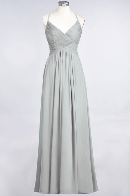 A-line Chiffon Spaghetti-Straps V-Neck Summer Floor-Length Bridesmaid Dress UK with Ruffles_29