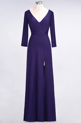 A-line Spandex V-Neck Long-Sleeves Side-Slit Floor-Length Bridesmaid Dress UK with Ruffles_17