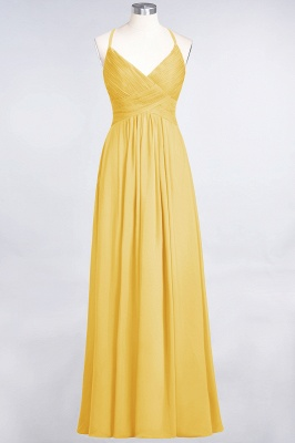 A-line Chiffon Spaghetti-Straps V-Neck Summer Floor-Length Bridesmaid Dress UK with Ruffles_16