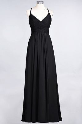A-line Chiffon Spaghetti-Straps V-Neck Summer Floor-Length Bridesmaid Dress UK with Ruffles_28