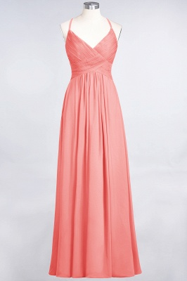 A-line Chiffon Spaghetti-Straps V-Neck Summer Floor-Length Bridesmaid Dress UK with Ruffles_7