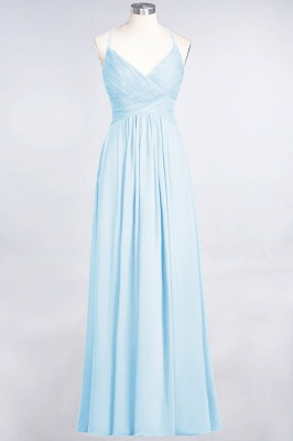 A-line Chiffon Spaghetti-Straps V-Neck Summer Floor-Length Bridesmaid Dress UK with Ruffles_22