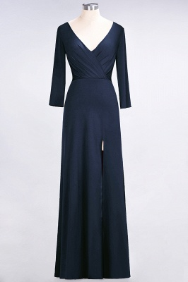 A-line Spandex V-Neck Long-Sleeves Side-Slit Floor-Length Bridesmaid Dress UK with Ruffles_24