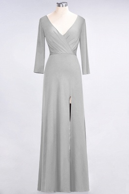 A-line Spandex V-Neck Long-Sleeves Side-Slit Floor-Length Bridesmaid Dress UK with Ruffles_26