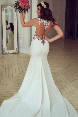 Sheer Back Lace Buttons Wedding Dress  Mermaid Sleeveless Sexy Bridal Gowns BA3691_2