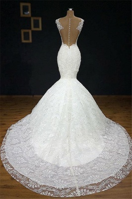 Stylish Straps Appliques Backless Mermaid Bridal Gown | Bridal Gowns Online_3