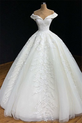 Off-The-Shoulder Ball-Gown Appliques Wedding Dress | Bridal Gowns Online_1
