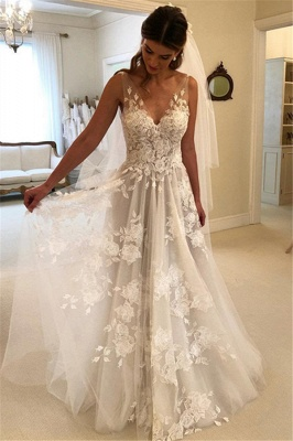 Elegant Sleeveless Appliques Wedding Dresses |  A-line V-Neck Bridal Gowns_1
