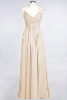 A-line Chiffon Spaghetti-Straps V-Neck Summer Floor-Length Bridesmaid Dress UK with Ruffles_14