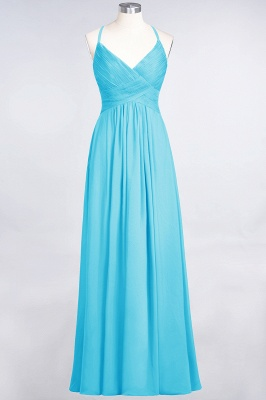 A-line Chiffon Spaghetti-Straps V-Neck Summer Floor-Length Bridesmaid Dress UK with Ruffles_23