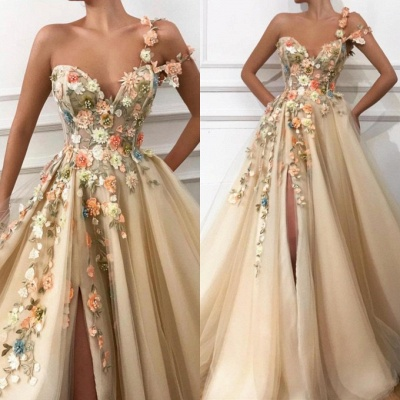 Gorgeous Flowers Long Prom Dress With Front Split Evening Party Gowns_2