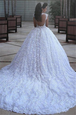 Crystal Lace Ball Gown Wedding Dresses Court Train Beading  Bridal Gowns MH068_3