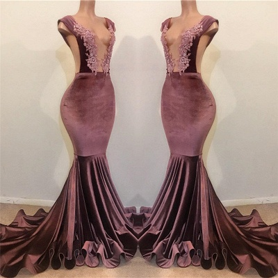 Trumpet Summer Sleeveless Floor Length Appliques Velvet Prom Dresses | Suzhou UK Online Shop_3