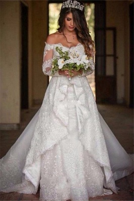 Beautiful Lace Off-the-Shoulder Long-Sleeve Princess Wedding Dress_2