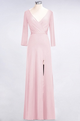 A-line Spandex V-Neck Long-Sleeves Side-Slit Floor-Length Bridesmaid Dress UK with Ruffles_3