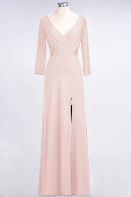 A-line Spandex V-Neck Long-Sleeves Side-Slit Floor-Length Bridesmaid Dress UK with Ruffles_5
