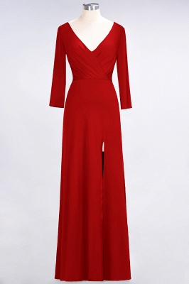A-line Spandex V-Neck Long-Sleeves Side-Slit Floor-Length Bridesmaid Dress UK with Ruffles_7