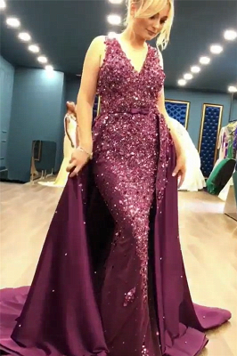 Sleeveless Full Beads Sequins Sexy Evening Dress | Luxury Overskirt Sheer Tulle Back Prom Dress