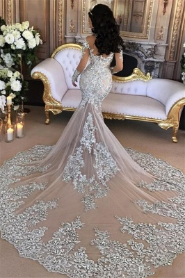 Long Sleeve Silver High Neck Popular Evening Dress Lace Mermaid  Luxury Wedding Dresses BH-362_3