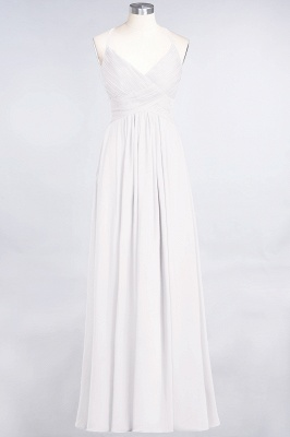 A-line Chiffon Spaghetti-Straps V-Neck Summer Floor-Length Bridesmaid Dress UK with Ruffles_1