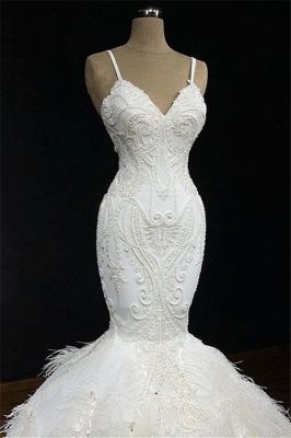 Alluring Spaghetti-Straps Lace Mermaid Wedding Dresses V-Neck Sleeveless Appliques Bridal Gowns with Fur_2