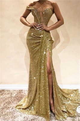 One Shoulder Sexy Side Slit Sequins Evening Dress | Sleeveless Sparkling Cheap Prom Dresses Online