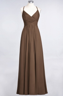 A-line Chiffon Spaghetti-Straps V-Neck Summer Floor-Length Bridesmaid Dress UK with Ruffles_12