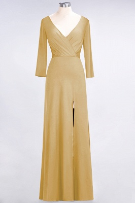 A-line Spandex V-Neck Long-Sleeves Side-Slit Floor-Length Bridesmaid Dress UK with Ruffles_12