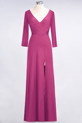 A-line Spandex V-Neck Long-Sleeves Side-Slit Floor-Length Bridesmaid Dress UK with Ruffles_8