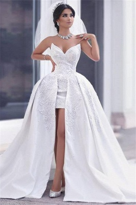 Puffy Gorgeous Strapless Lace Overskirt Appliques Ball Gown Wedding Dress_2