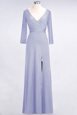 Cheap A-line Spandex V-Neck Long-Sleeves Side-Slit Floor-Length Bridesmaid Dress UK with Ruffles_19
