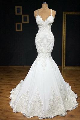 Vintage Spaghetti-Straps Applique Mermaid Wedding Dresses V-Neck Lace Sleeveless Bridal Gowns On Sale_1
