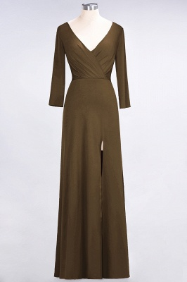 A-line Spandex V-Neck Long-Sleeves Side-Slit Floor-Length Bridesmaid Dress UK with Ruffles_11