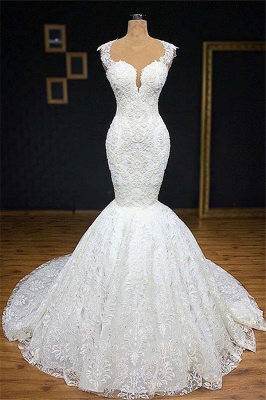 Stylish Straps Appliques Backless Mermaid Bridal Gown | Bridal Gowns Online_1