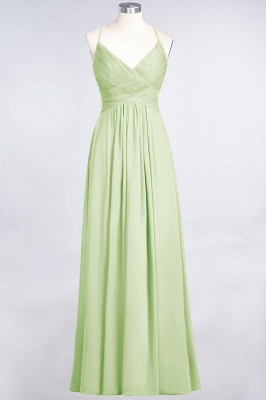 A-line Chiffon Spaghetti-Straps V-Neck Summer Floor-Length Bridesmaid Dress UK with Ruffles_33